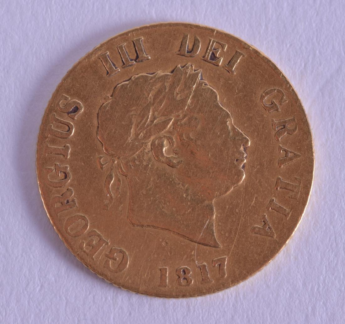 AN 1817 SPADE ACE HALF GOLD SOVEREIGN.