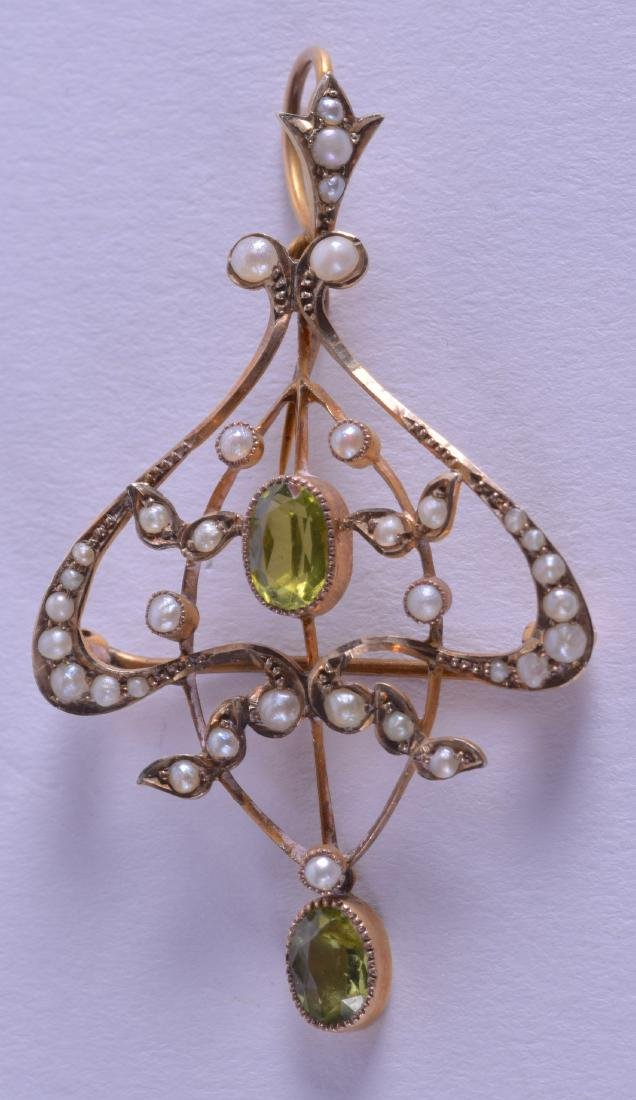 AN ART NOUVEAU LATE VICTORIAN GOLD PERIDOT AND PEARL