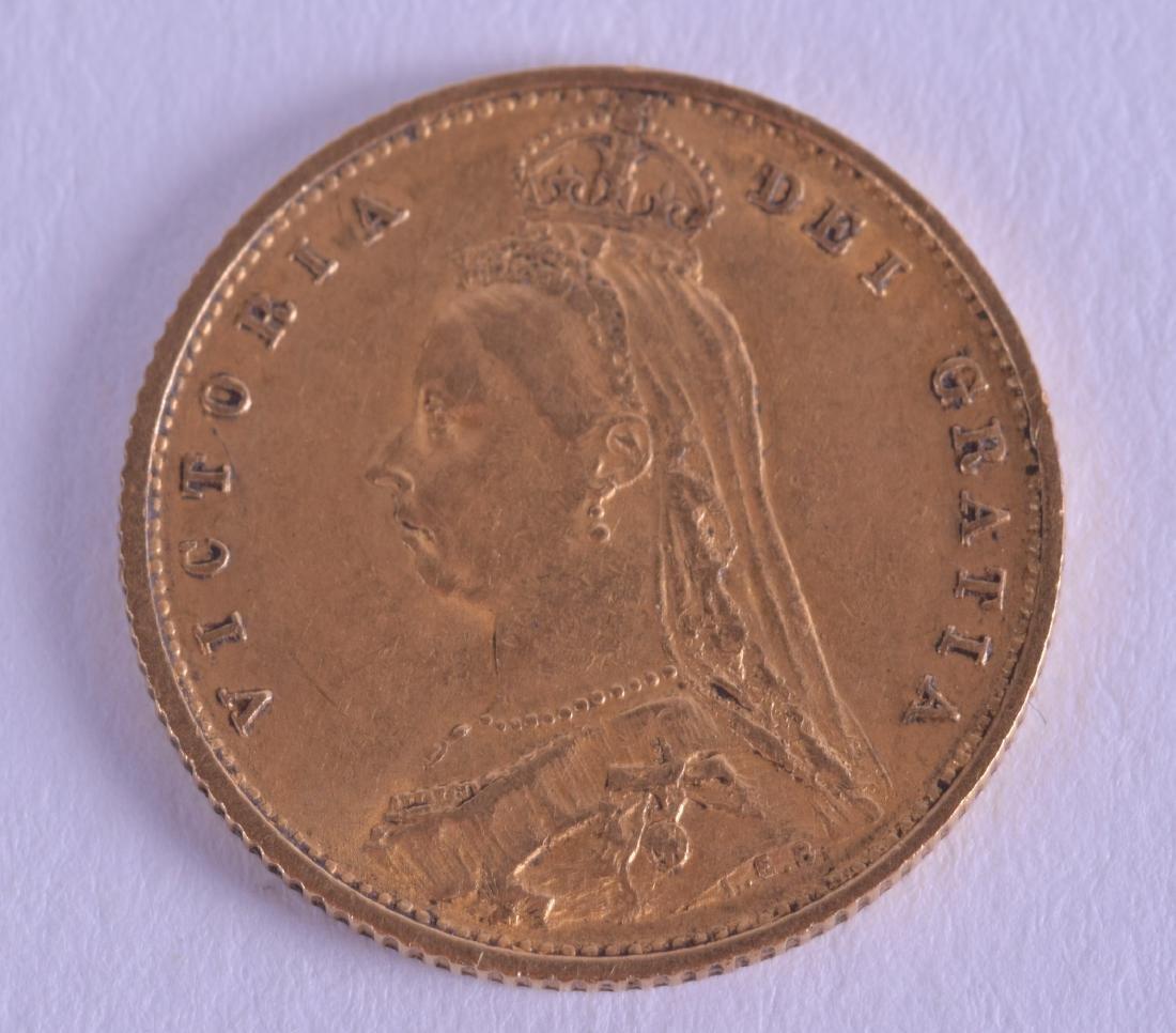 AN 1887 SHIELD BACK HALF GOLD SOVEREIGN.
