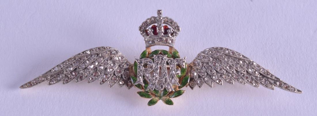A 15CT DIAMOND AND ENAMEL RAF SWEETHEART BROOCH. 6 cm