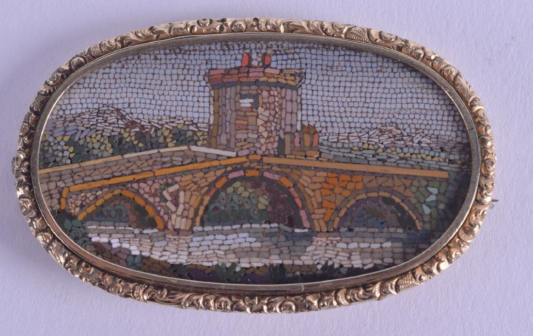 A MID 19TH CENTURY EUROPEAN YELLOW METAL MICRO MOSAIC