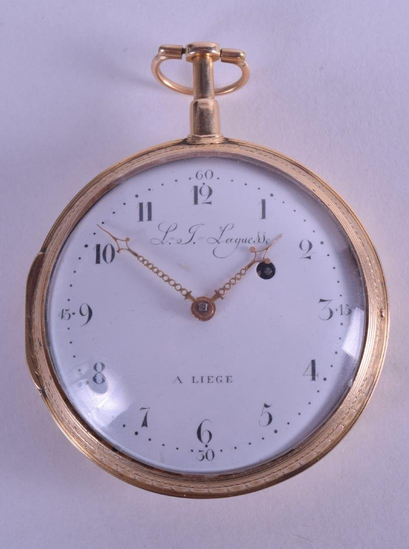 A GOOD 19TH CENTURY 18CT YELLOW GOLD REPEATING POCKET