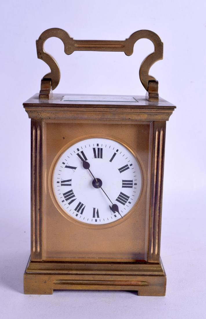 A LATE 19TH CENTURY FRENCH BRASS CARRIAGE CLOCK with