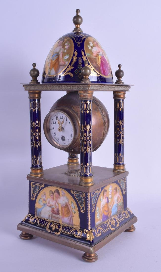 A GOOD LATE 19TH CENTURY VIENNA PORCELAIN MANTEL CLOCK