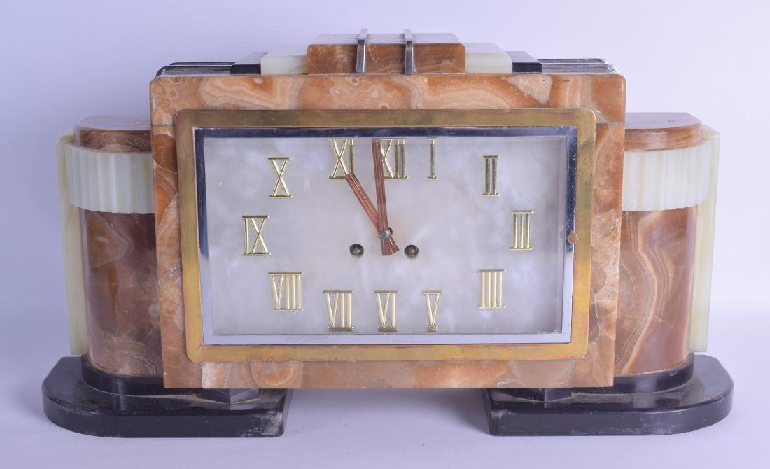 A STYLISH ART DECO ONYX AND MARBLE MANTEL CLOCK of