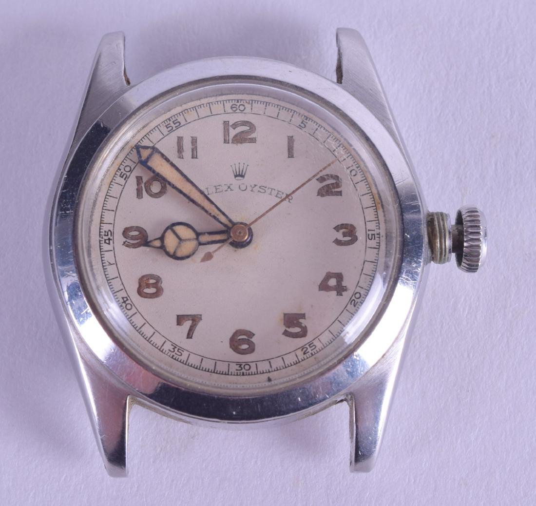 A VINTAGE ROLEX OYSTER STAINLESS STEEL WATCH DIAL AND