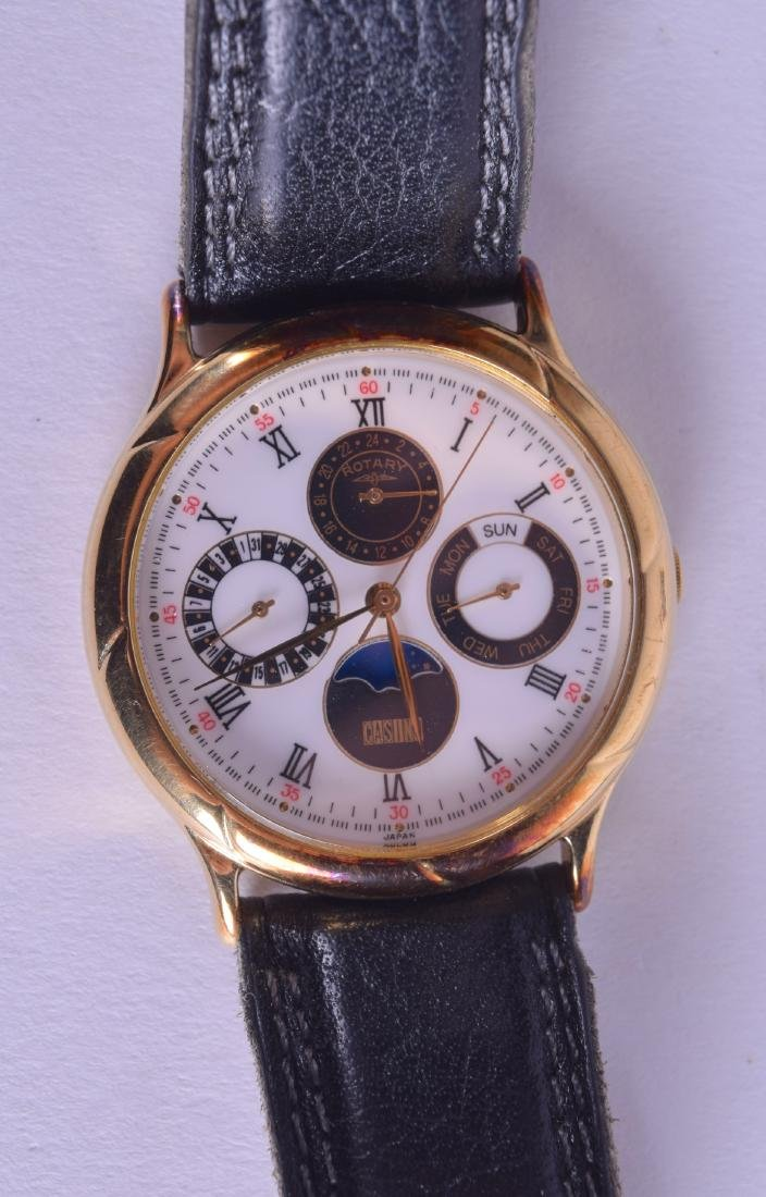 A BOXED ROTARY MULTI DIAL WRISTWATCH with white enamel