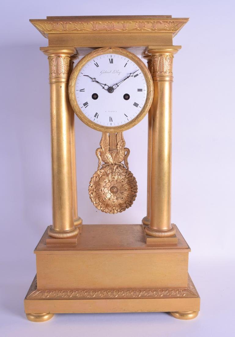 A GOOD 19TH CENTURY FRENCH ORMOLU EMPIRE MANTEL CLOCK