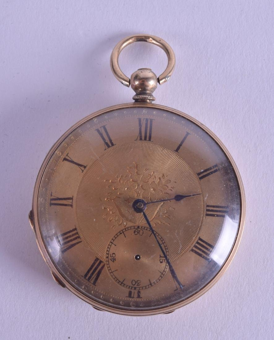 AN ANTIQUE YELLOW METAL POCKET WATCH with gilt dial and