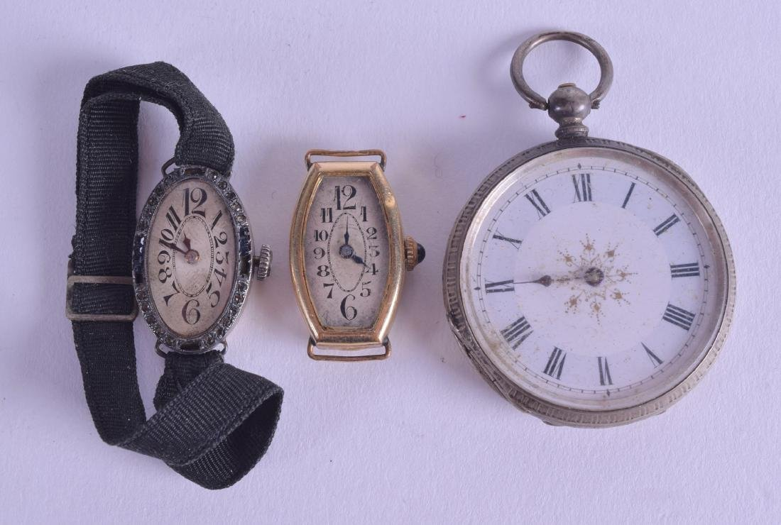 AN ANTIQUE SILVER POCKET WATCH together with two other