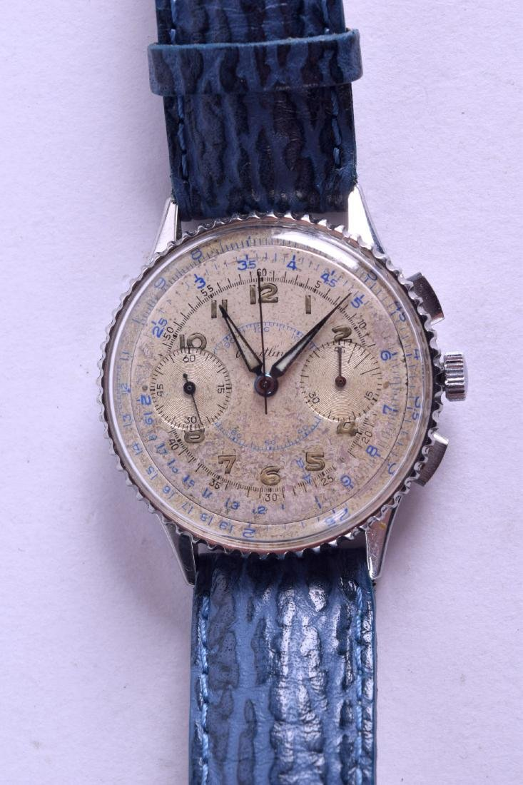 A VINTAGE BREITLING STAINLESS STEEL CHRONOMETER