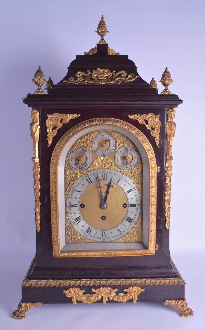 A VERY LARGE 19TH CENTURY WESTMINSTER BRACKET CLOCK ON