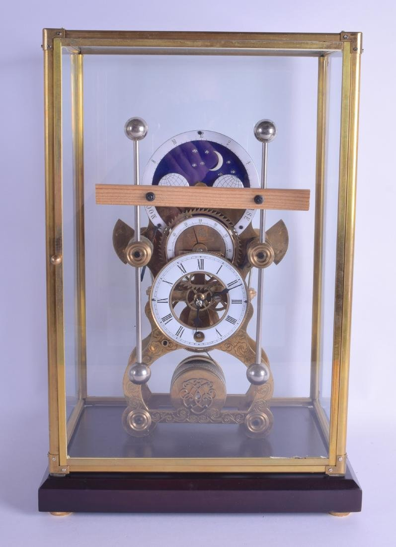 A CONTEMPORARY BRASS GRASSHOPPER SKELETON CLOCK with