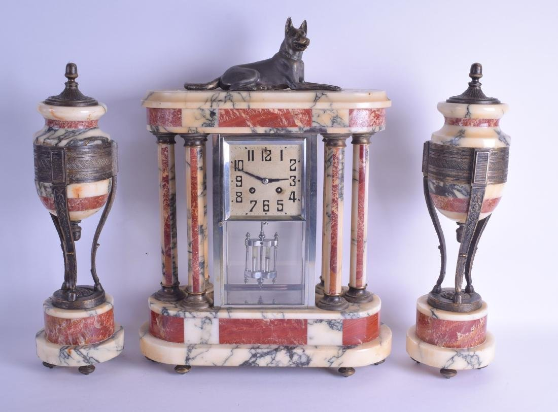 AN ART DECO TWO TONE MARBLE AND SPELTER CLOCK GARNITURE