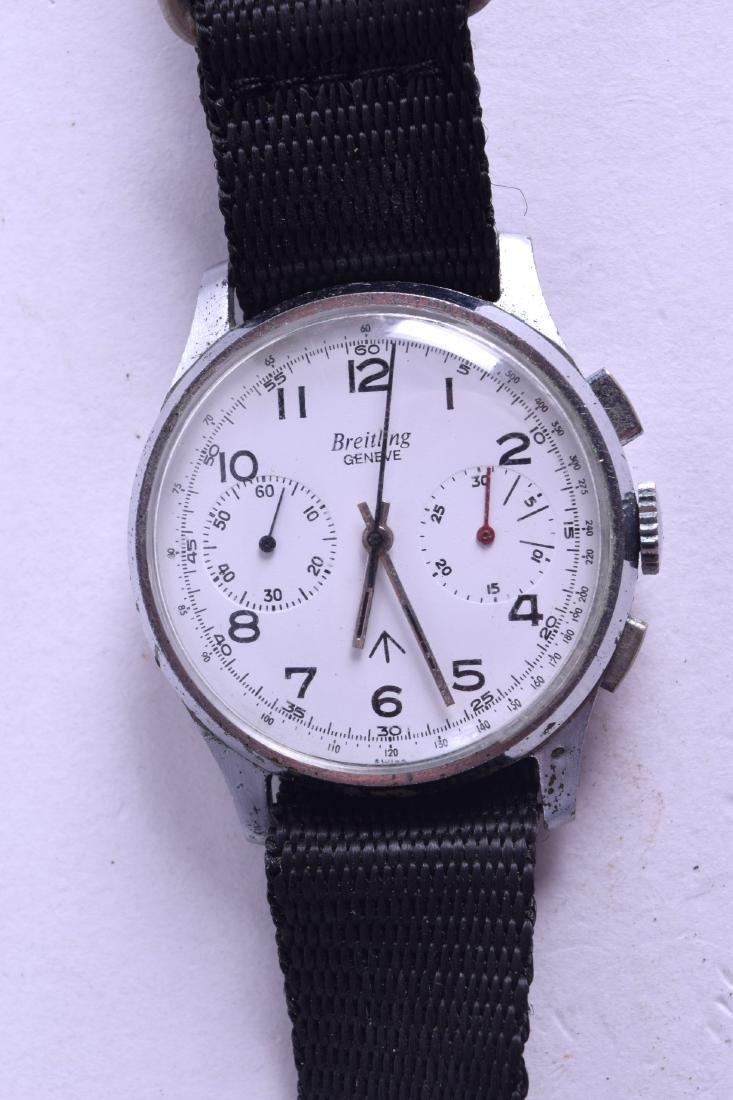 A VINTAGE BREITLING STAINLESS STEEL WRISTWATCH with
