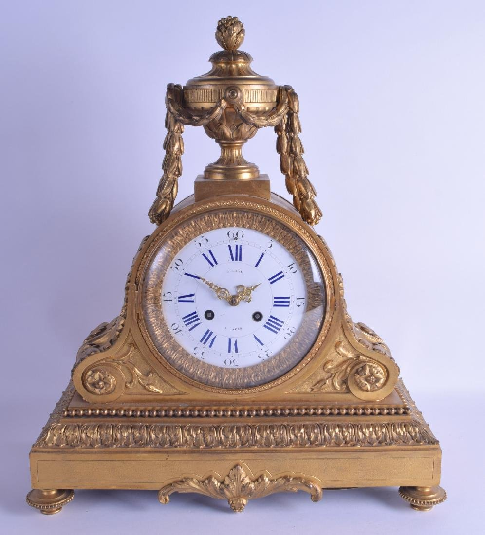 A GOOD LARGE 19TH CENTURY FRENCH ORMOLU SCROLLING