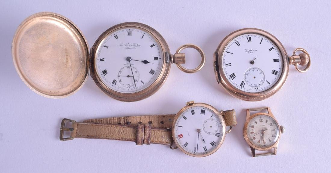 TWO ANTIQUE YELLOW METAL POCKET WATCHES together with a