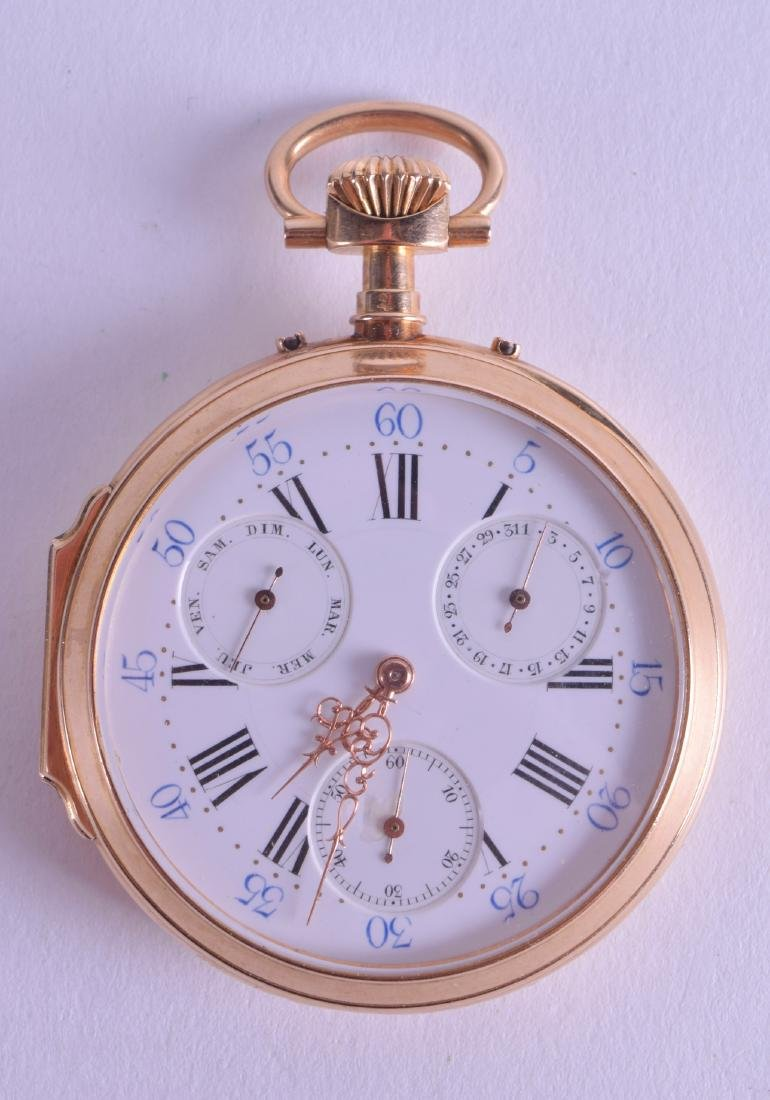 AN ANTIQUE 18CT GOLD FRENCH MULTI DIAL POCKET WATCH