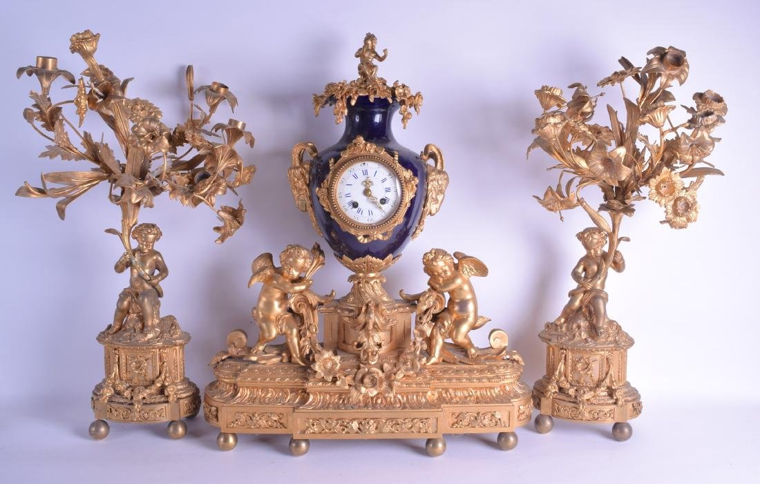 A LARGE 19TH CENTURY FRENCH ORMOLU AND BLUE SEVRES TYPE