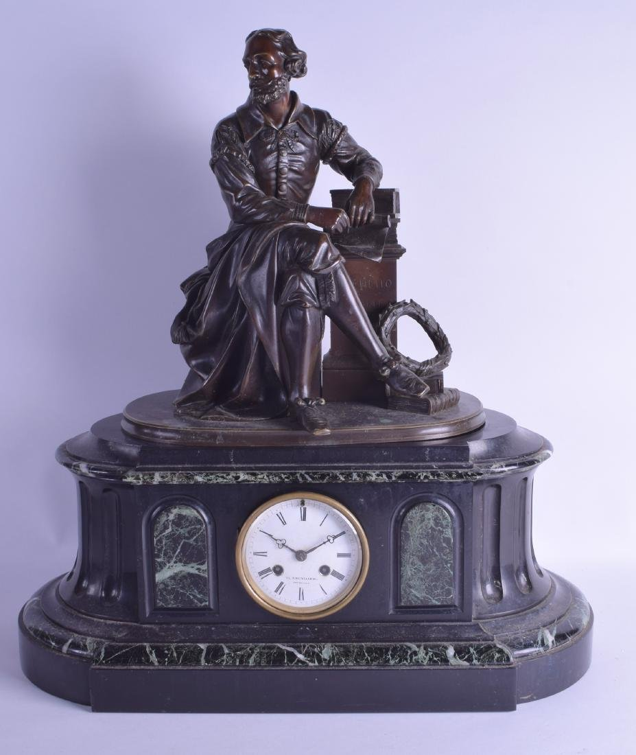 A LARGE 19TH CENTURY FRENCH BRONZE AND VEINED MARBLE