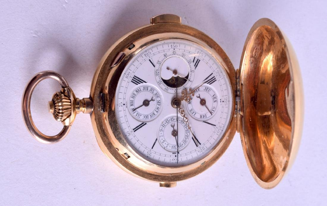 A FINE ANTIQUE 18CT YELLOW GOLD MINUTE REPEATING