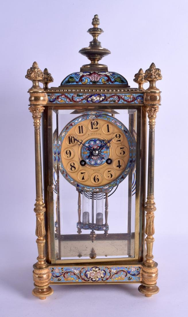 A LATE 19TH CENTURY FRENCH ORMOLU AND CHAMPLEVE ENAMEL