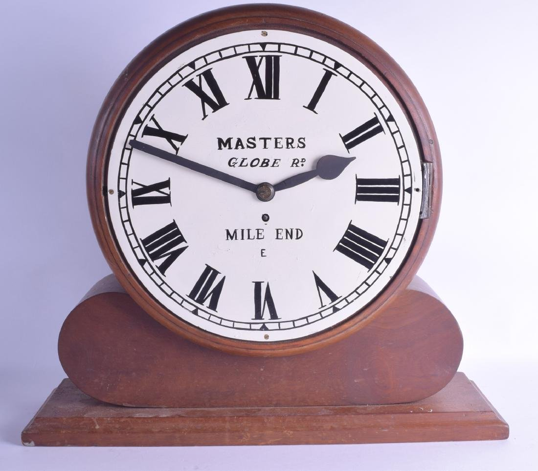 A LARGE FUSEE CARVED WOOD MANTEL CLOCK with painted