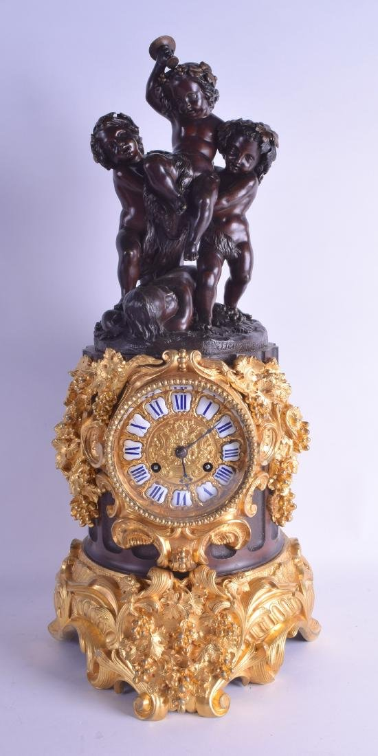 A GOOD LARGE 19TH CENTURY FRENCH BRONZE AND ORMOLU