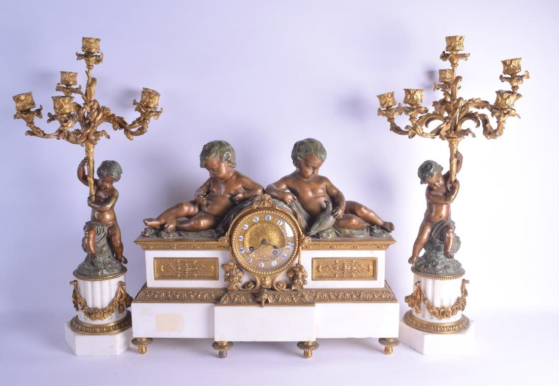 A LARGE 19TH CENTURY FRENCH BRONZE AND WHITE MARBLE