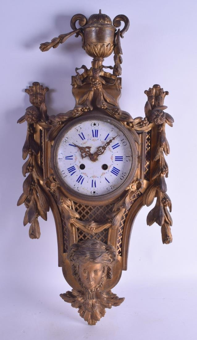 A 19TH CENTURY FRENCH BRONZE CARTEL CLOCK with large