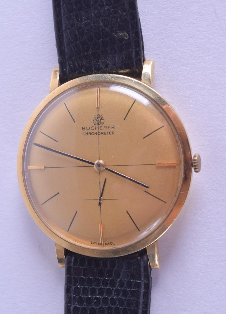 A GOOD 18CT GOLD GENTLEMANS BUCHERER CHROMETER