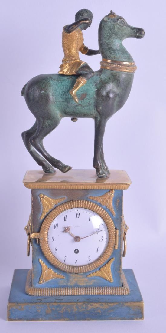 A GOOD 18TH/19TH CENTURY FRENCH BRONZE MANTEL CLOCK by