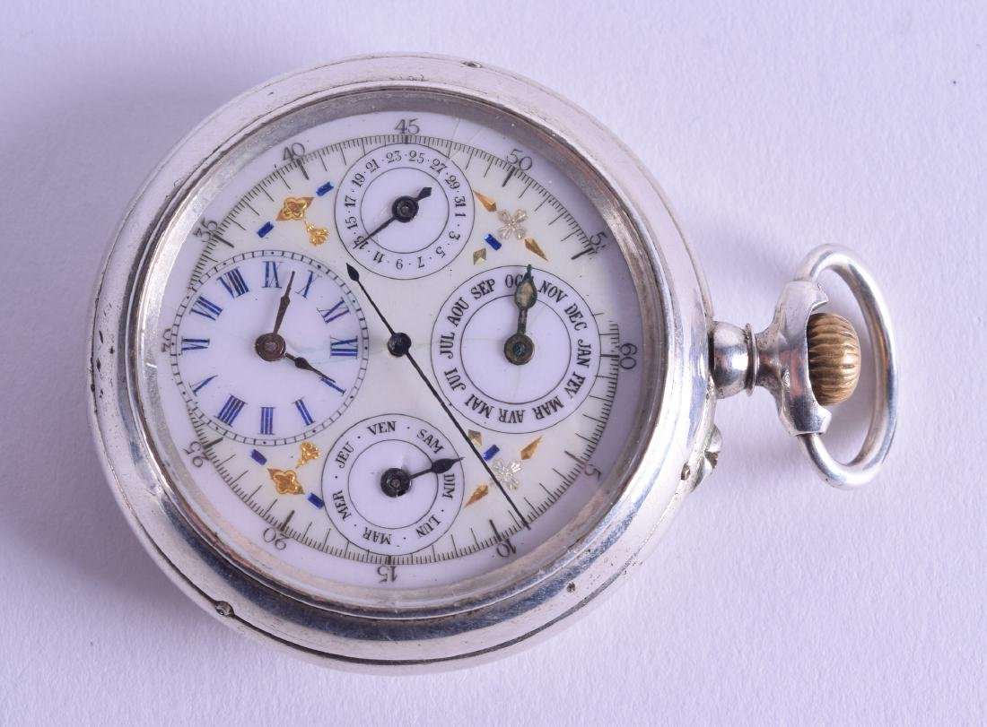 A RARE ANTIQUE PATEK PHILLIPE SILVER TRIPLE DIAL POCKET