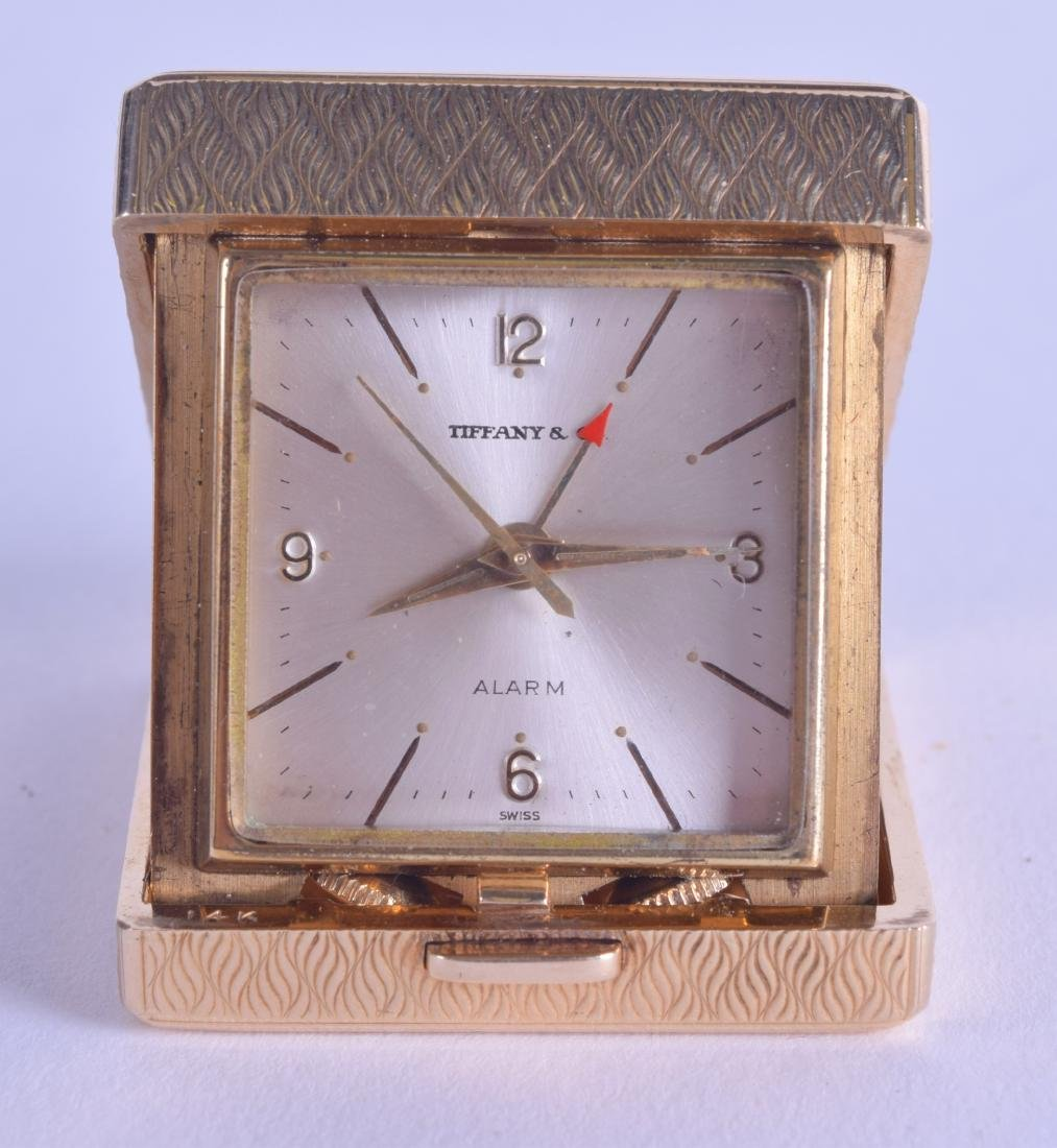 A RARE 14CT GOLD TIFFANY & CO TRAVELLING CLOCK with