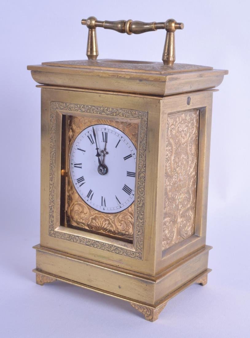 A RARE 19TH CENTURY FRENCH BRASS DOUBLE FUSEE CARRIAGE
