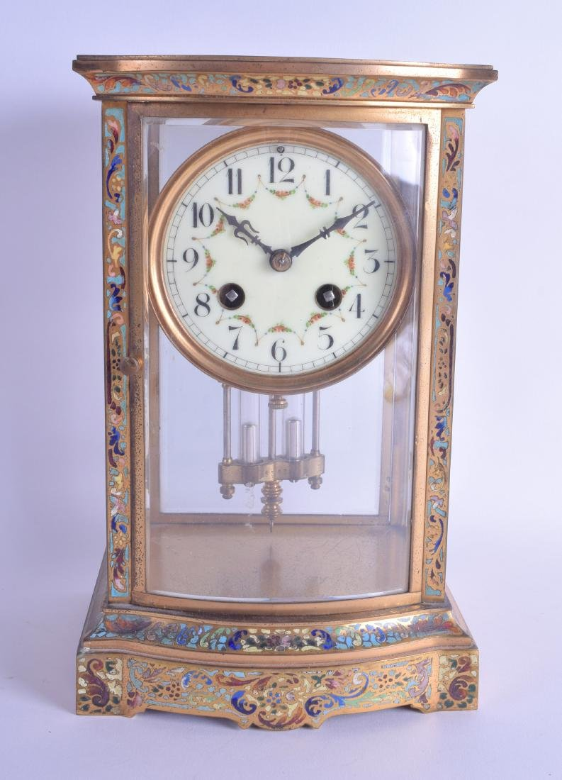 A LATE 19TH CENTURY FRENCH CHAMPLEVE ENAMEL BRASS FOUR