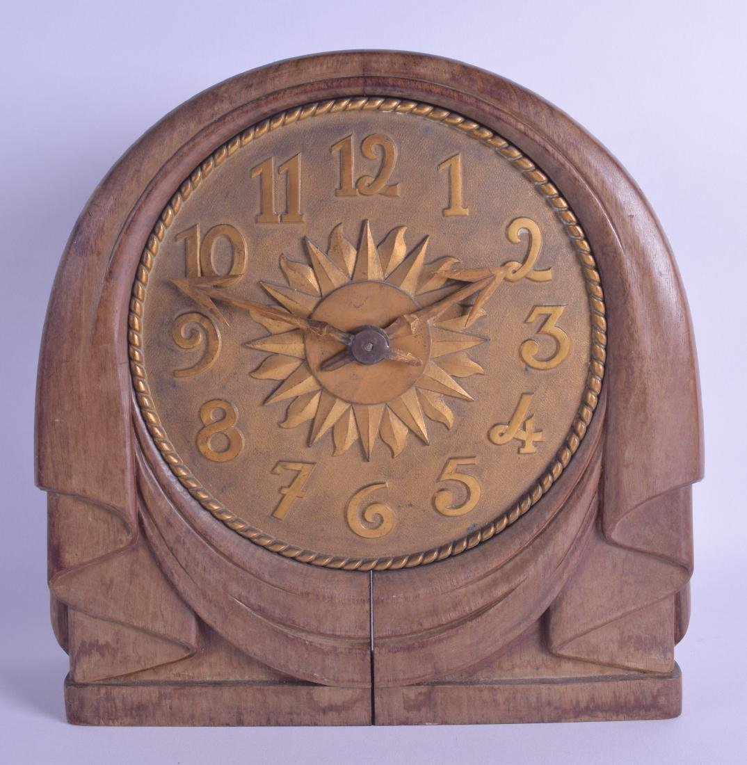 A CHARMING ART DECO FRENCH CARVED WOOD CLOCK C1925