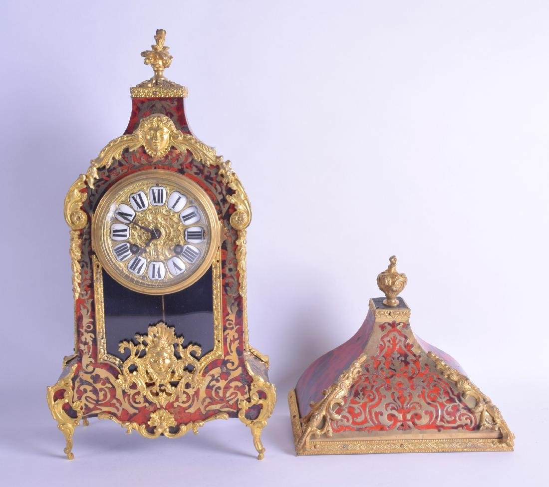 A LATE 19TH CENTURY FRENCH BOULLE CLOCK AND BRACKET