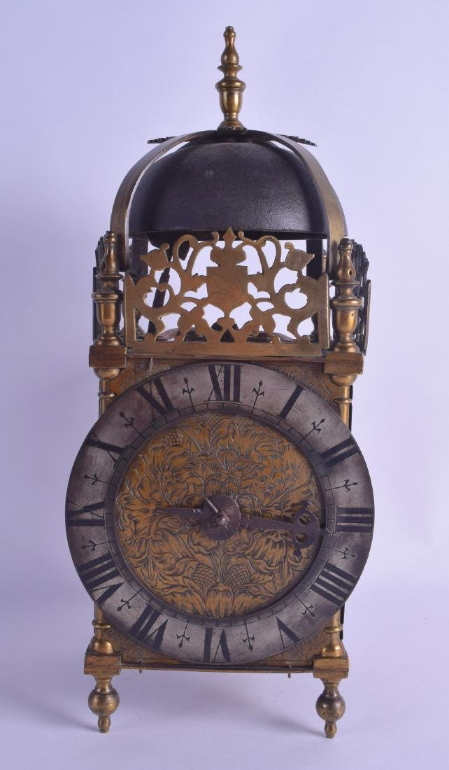 AN 18TH CENTURY BRASS LANTERN CLOCK with engraved brass