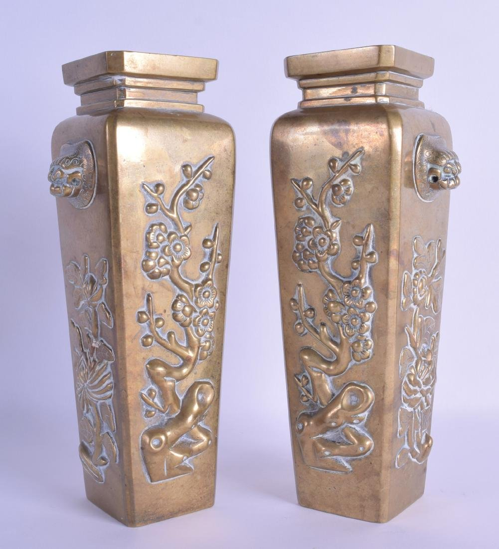 AN UNUSUAL PAIR OF LATE 19TH CENTURY CHINESE BRONZE