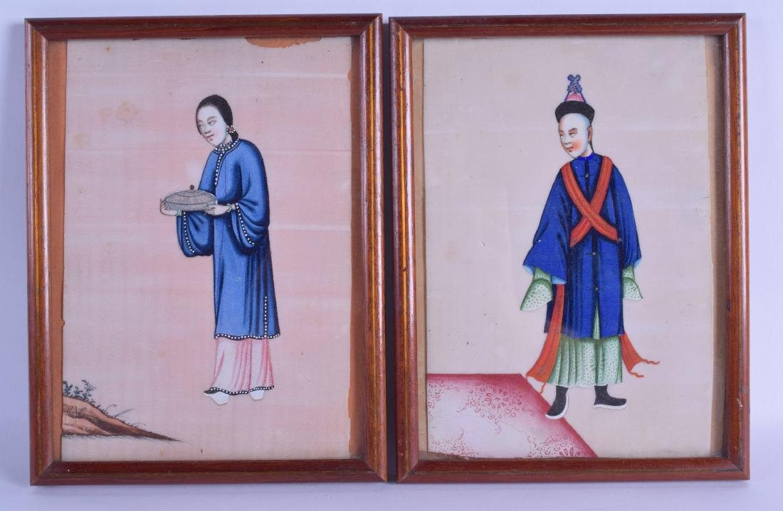 A PAIR OF 19TH CENTURY CHINESE FRAMED PITH PAPER WORKS