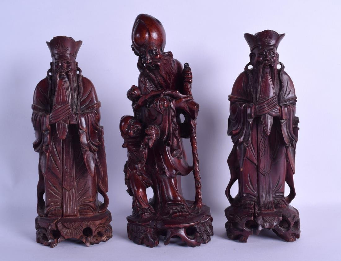 A PAIR OF LATE 19TH CENTURY CHINESE CARVED HARDWOOD