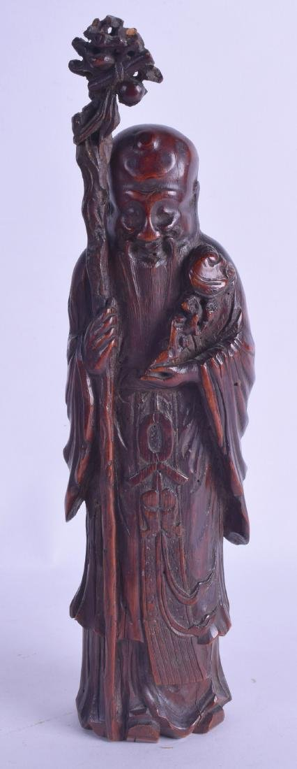 AN 18TH CENTURY CHINESE CARVED BAMBOO FIGURE OF SAGE