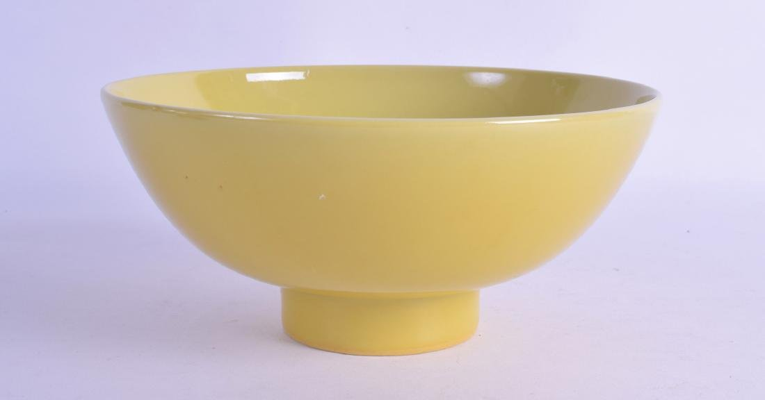 A CHINESE IMPERIAL YELLOW PEDESTAL FOOTED BOWL probably