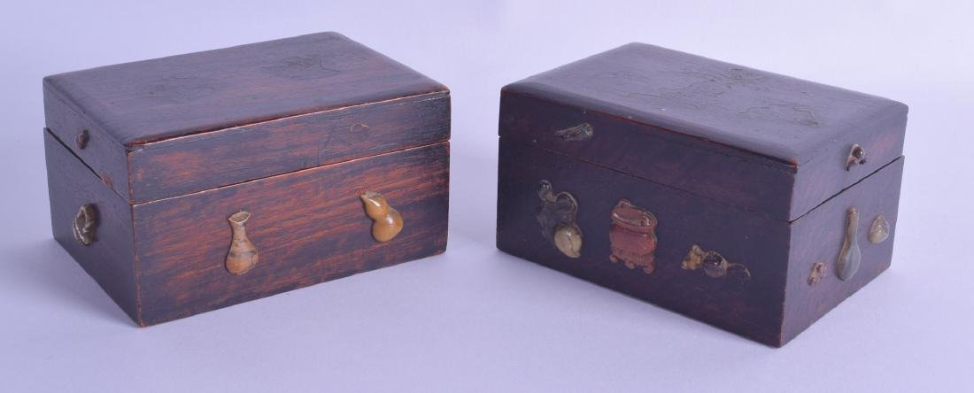 A PAIR OF LATE 19TH CENTURY CHINESE CARVED WOOD BOXES