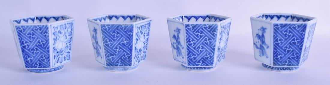 A SET OF FOUR 19TH CENTURY JAPANESE EDO PERIOD BLUE AND