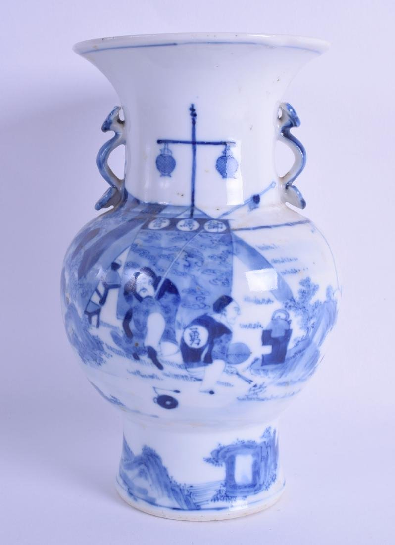 A 19TH CENTURY CHINESE BLUE AND WHITE TWIN HANDLED VASE