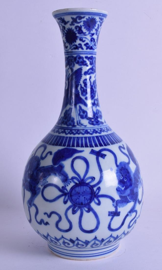 A CHINESE BLUE AND WHITE PORCELAIN VASE painted with