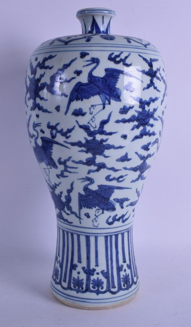 A LARGE CHINESE BLUE AND WHITE MEIPING STYLE VASE