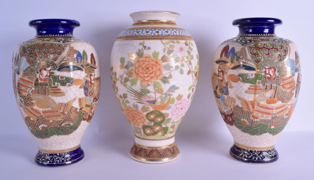 A PAIR OF JAPANES TAISHO PERIOD SATSUMA VASES together